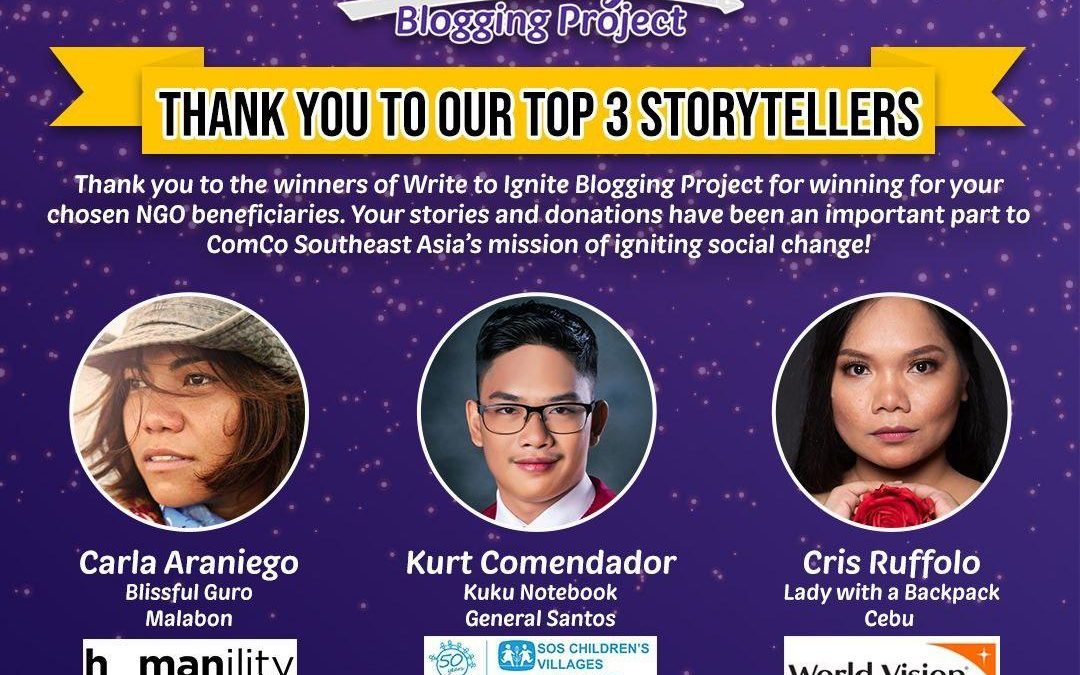Winners of ComCo SEA's Write to Ignite Blogging Project Pledges Support to SOS Children's Villages, Humanility and World Vision