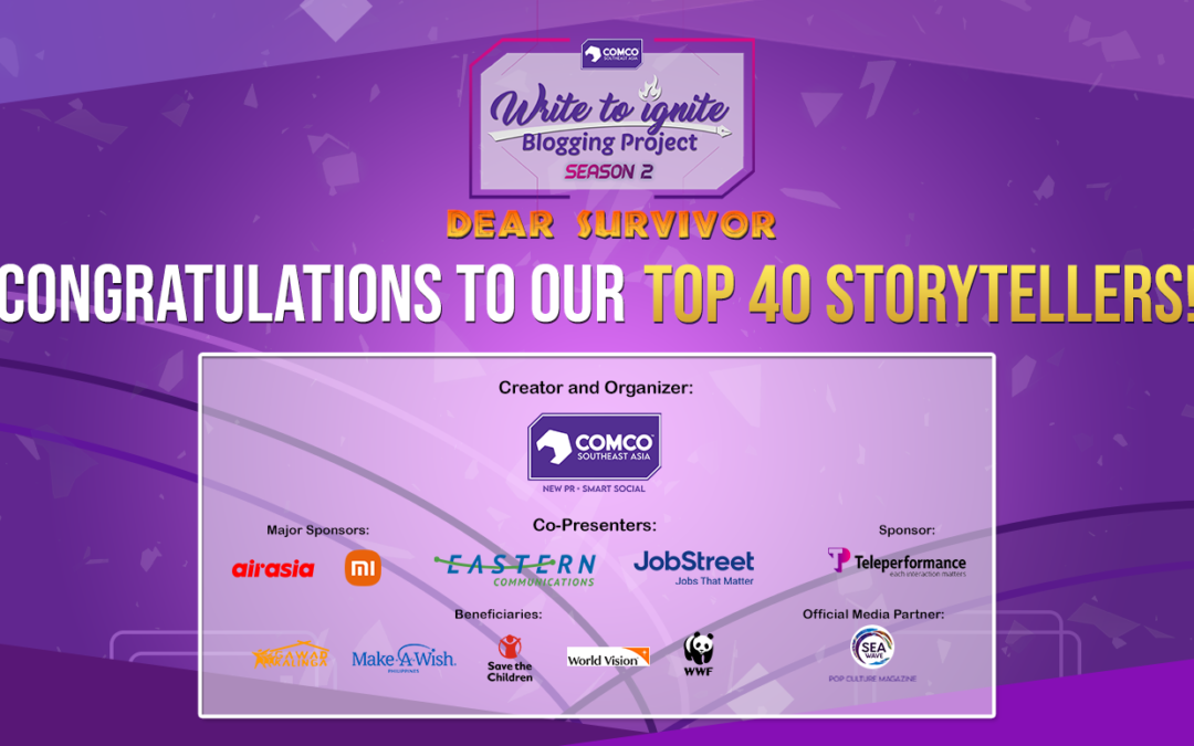 """ComCo Southeast Asia's """"Write to Ignite Blogging Project"""" Unveils Its Top 40+ Finalists for Season 2"""