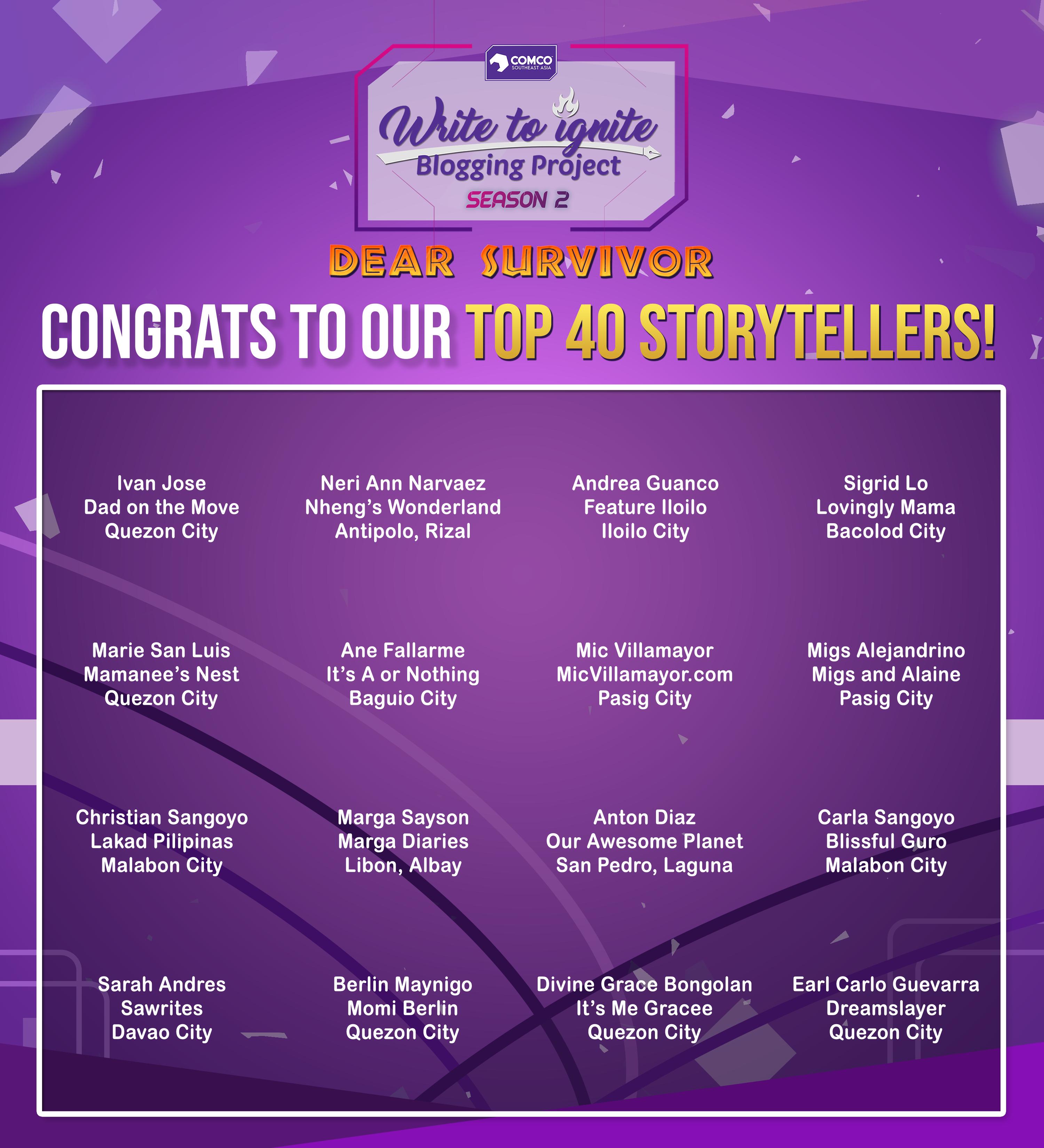 Write to Ignite Season 2 - Top 40 Storytellers - ComCo Southeast Asia - New PR Smart Social - Best agency